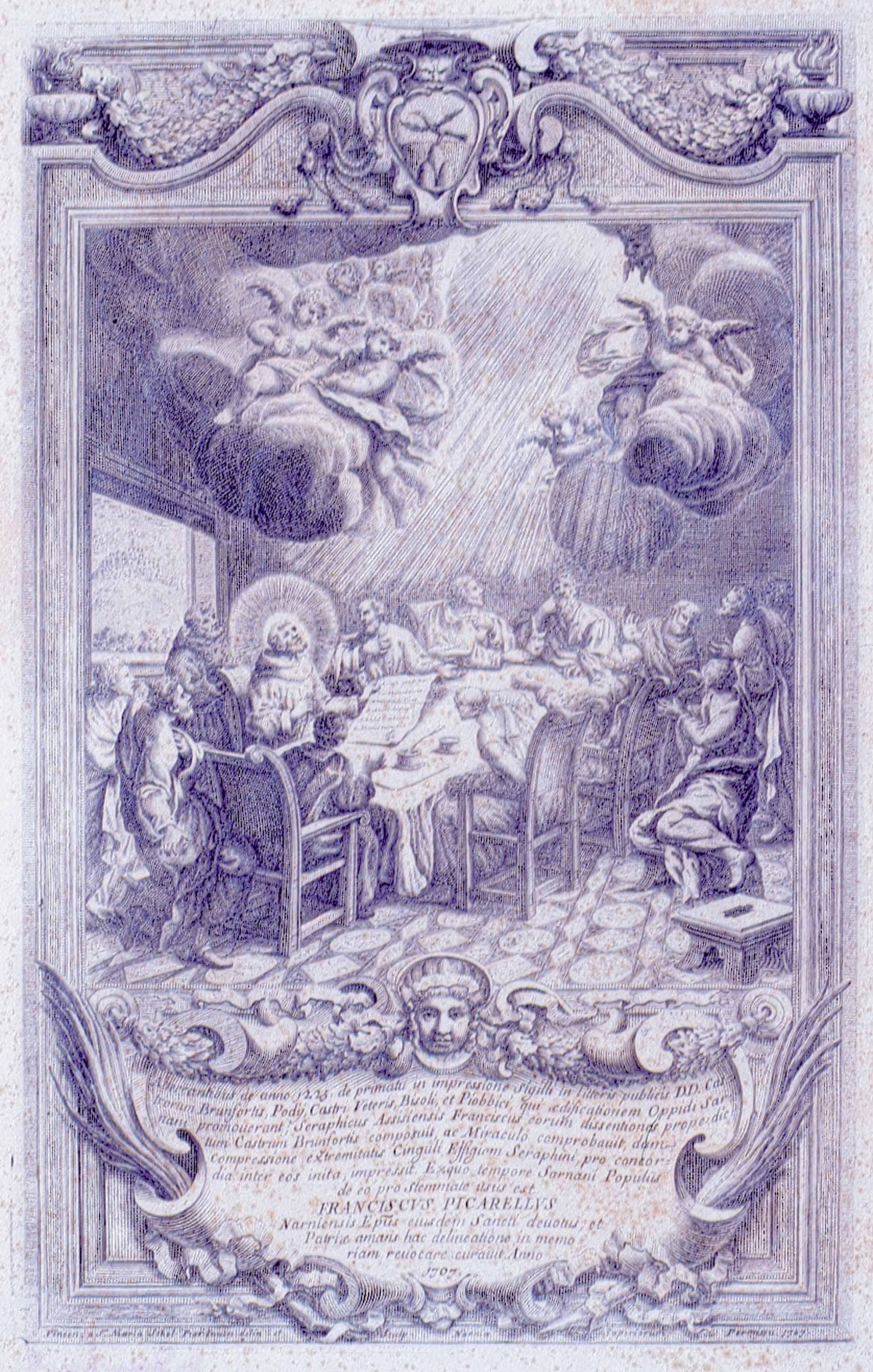 Museo di Sarnano: Francesco Picarello, San Francesco disegna lo stemma