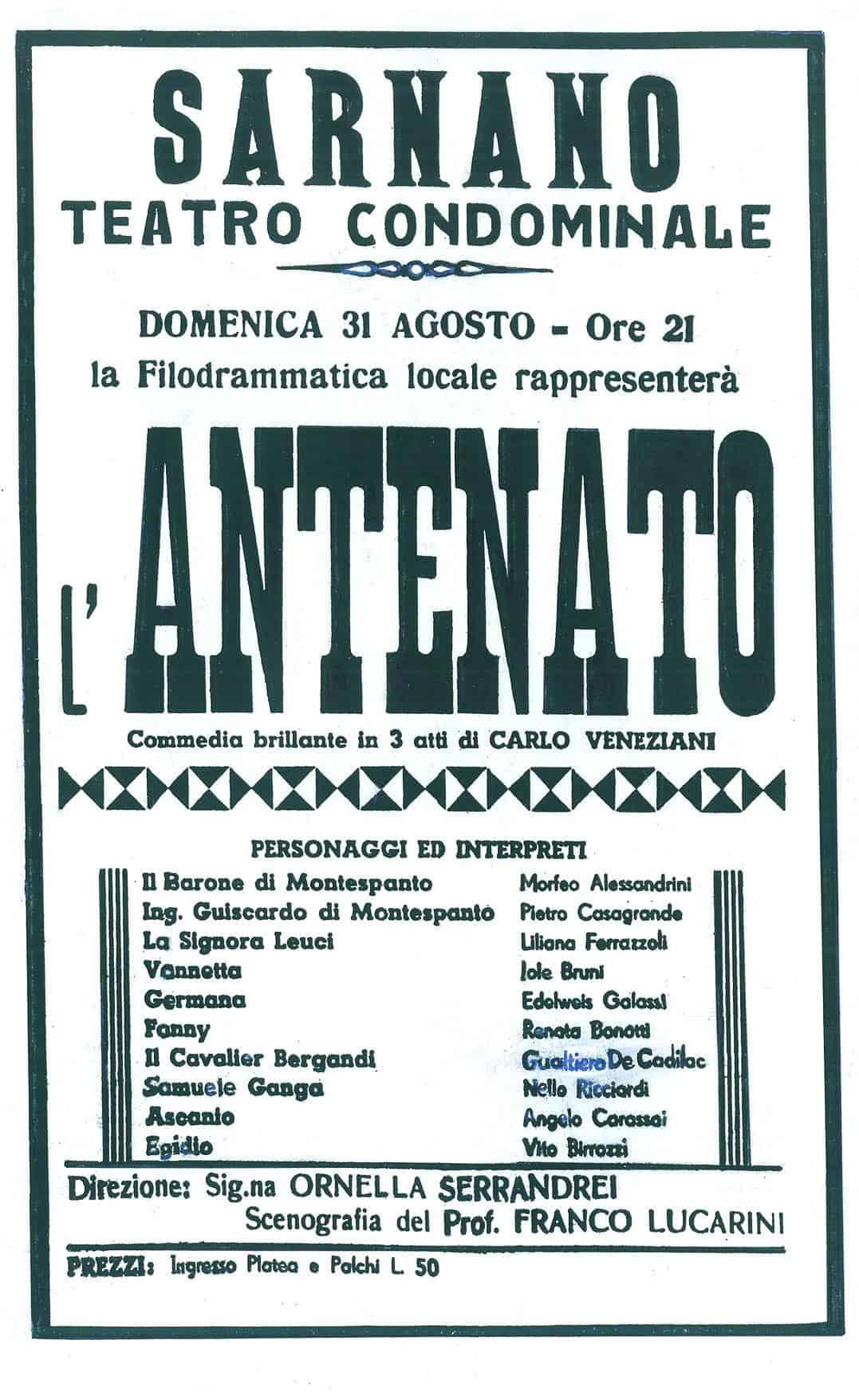 """""""L'Antenanto"""", manifesto di riapertura del Teatro di Sarnano"""